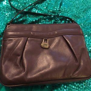 Leather crossbody purse cherry brown
